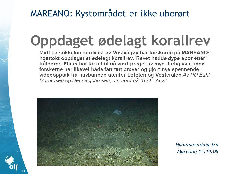 13 MAREANO: Kystområdet er ikke uberørt Oppdaget ødelagt korallrev Midt på sokkelen nordvest av Vestvågøy har forskerne på MAREANOs høsttokt oppdaget et ødelagt korallrev.
