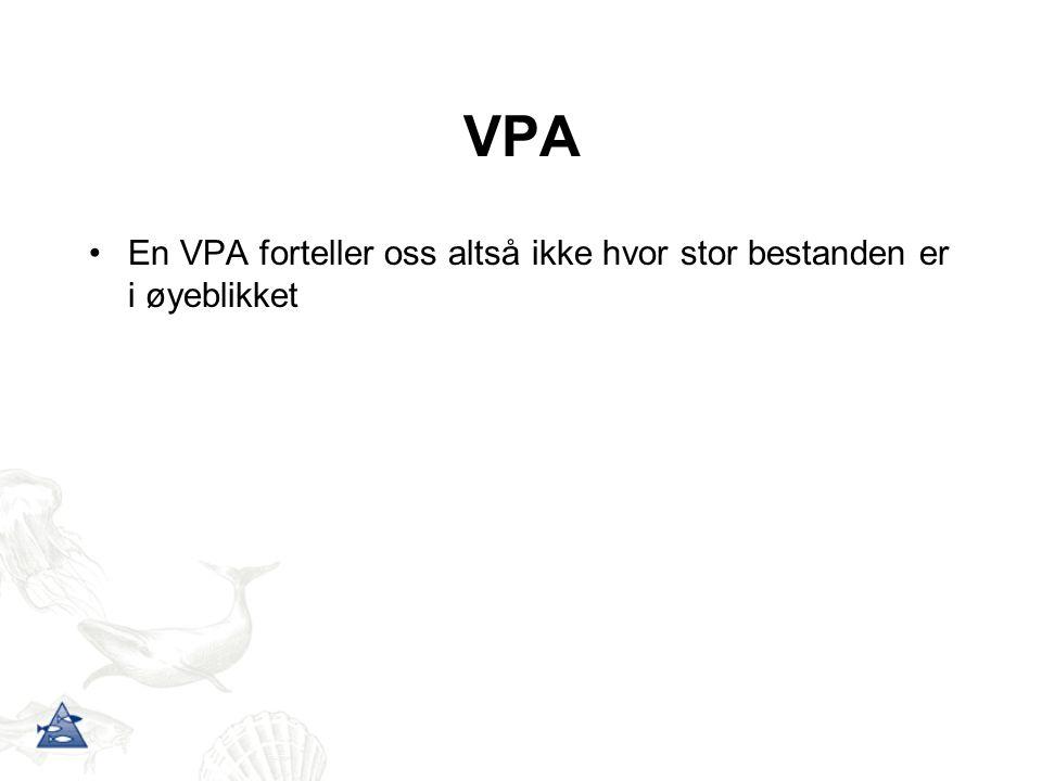 VPA En VPA forteller oss altså ikke hvor stor bestanden er i øyeblikket