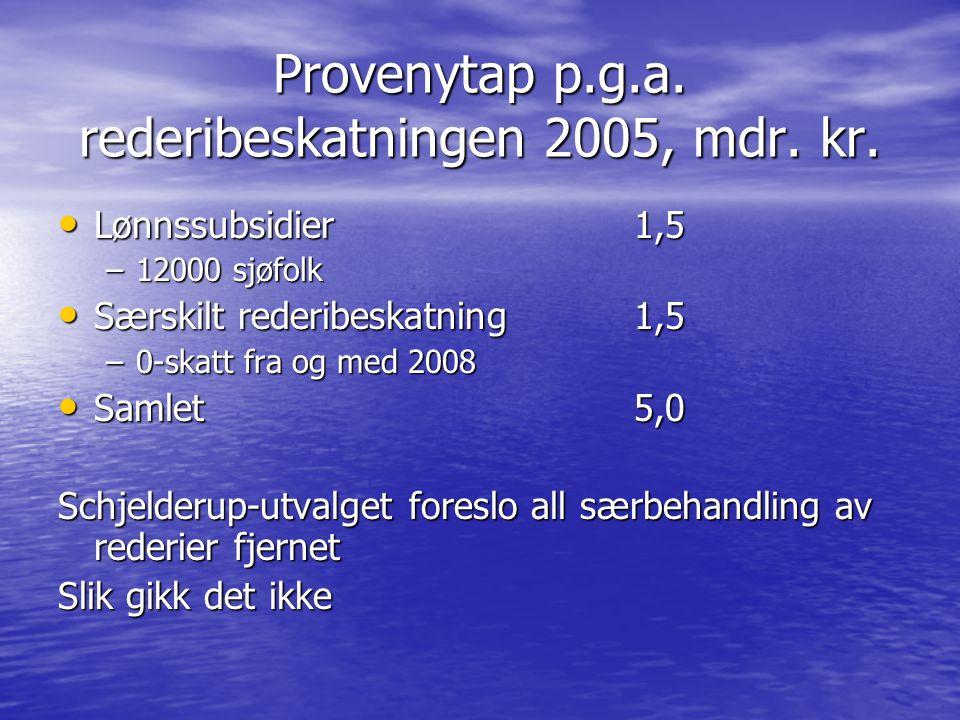 Provenytap p.g.a. rederibeskatningen 2005, mdr. kr. Lønnssubsidier 1,5 Lønnssubsidier 1,5 –12000 sjøfolk Særskilt rederibeskatning 1,5 Særskilt rederi