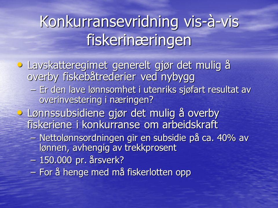 Konkurransevridning vis-à-vis fiskerinæringen Lavskatteregimet generelt gjør det mulig å overby fiskebåtrederier ved nybygg Lavskatteregimet generelt