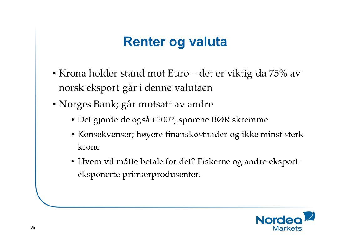 26 Renter og valuta Krona holder stand mot Euro – det er viktig da 75% av norsk eksport går i denne valutaen Norges Bank; går motsatt av andre Det gjorde de også i 2002, sporene BØR skremme Konsekvenser; høyere finanskostnader og ikke minst sterk krone Hvem vil måtte betale for det.