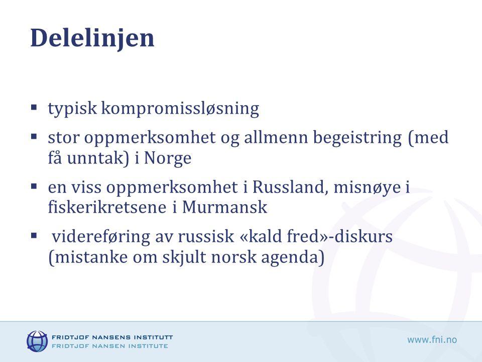  typisk kompromissløsning  stor oppmerksomhet og allmenn begeistring (med få unntak) i Norge  en viss oppmerksomhet i Russland, misnøye i fiskerikretsene i Murmansk  videreføring av russisk «kald fred»-diskurs (mistanke om skjult norsk agenda)