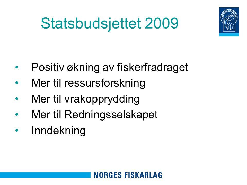 Statsbudsjettet 2009 Positiv økning av fiskerfradraget Mer til ressursforskning Mer til vrakopprydding Mer til Redningsselskapet Inndekning