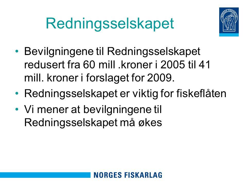 Redningsselskapet Bevilgningene til Redningsselskapet redusert fra 60 mill.kroner i 2005 til 41 mill.
