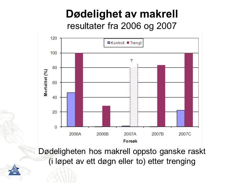 Dødelighet av makrell resultater fra 2006 og 2007 Dødeligheten hos makrell oppsto ganske raskt (i løpet av ett døgn eller to) etter trenging