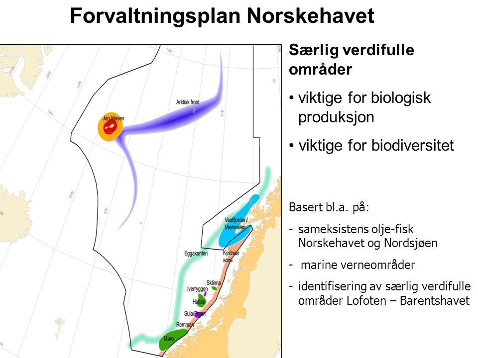 Særlig verdifulle områder viktige for biologisk produksjon viktige for biodiversitet Basert bl.a. på: -sameksistens olje-fisk Norskehavet og Nordsjøen