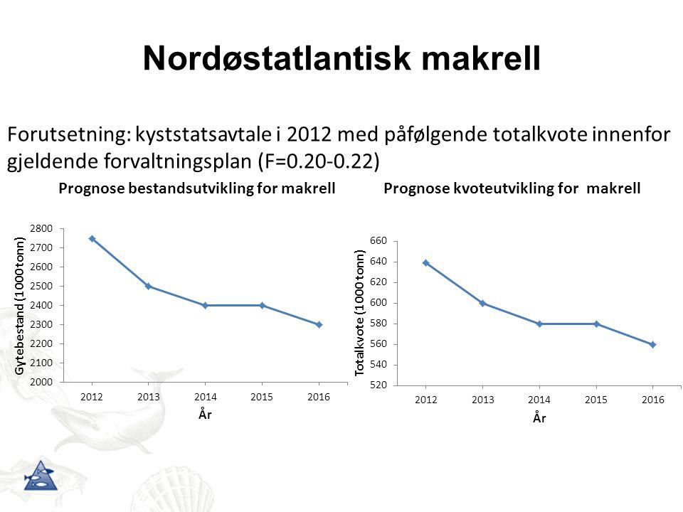 Nordøstatlantisk makrell Forutsetning: kyststatsavtale i 2012 med påfølgende totalkvote innenfor gjeldende forvaltningsplan (F=0.20-0.22)