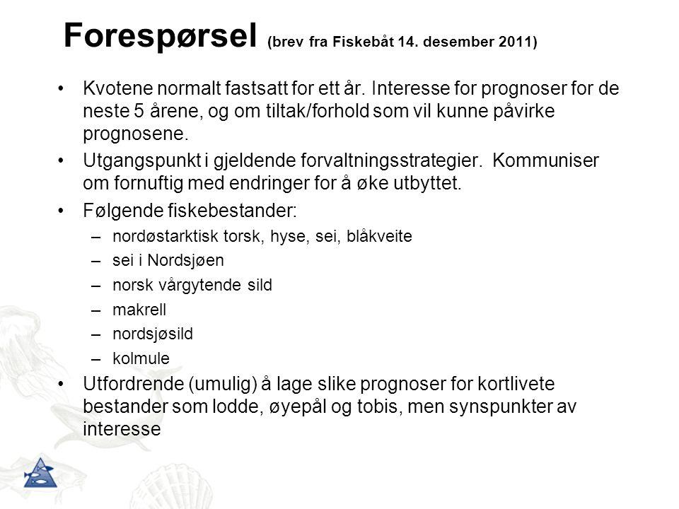 Forespørsel (brev fra Fiskebåt 14. desember 2011) Kvotene normalt fastsatt for ett år.