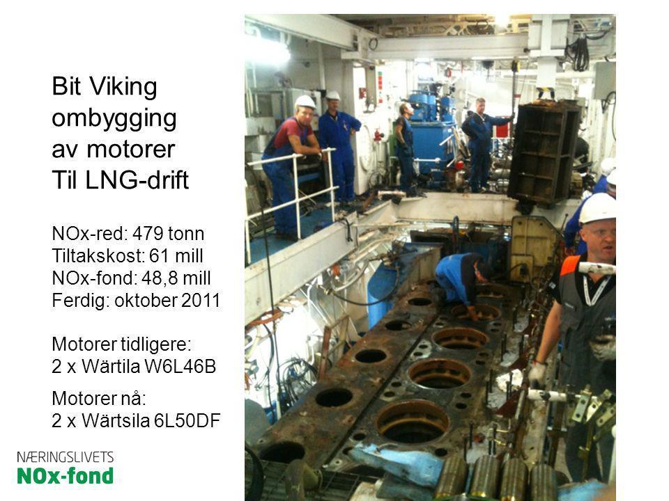 Bit Viking ombygging av motorer Til LNG-drift NOx-red: 479 tonn Tiltakskost: 61 mill NOx-fond: 48,8 mill Ferdig: oktober 2011 Motorer tidligere: 2 x W