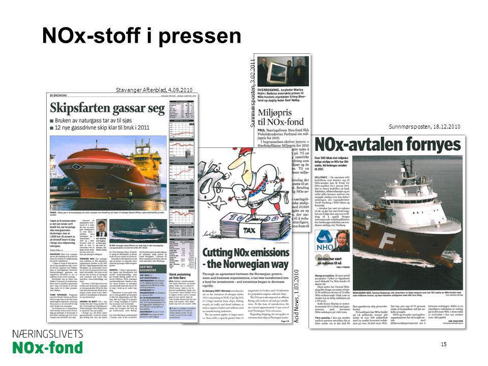 NOx-stoff i pressen 15 Sunnmørsposten, 18.12.2010 Stavanger Aftenblad, 4.09.2010 Sunnmørsposten, 3.02.2011 Acid News, 1.03.2010