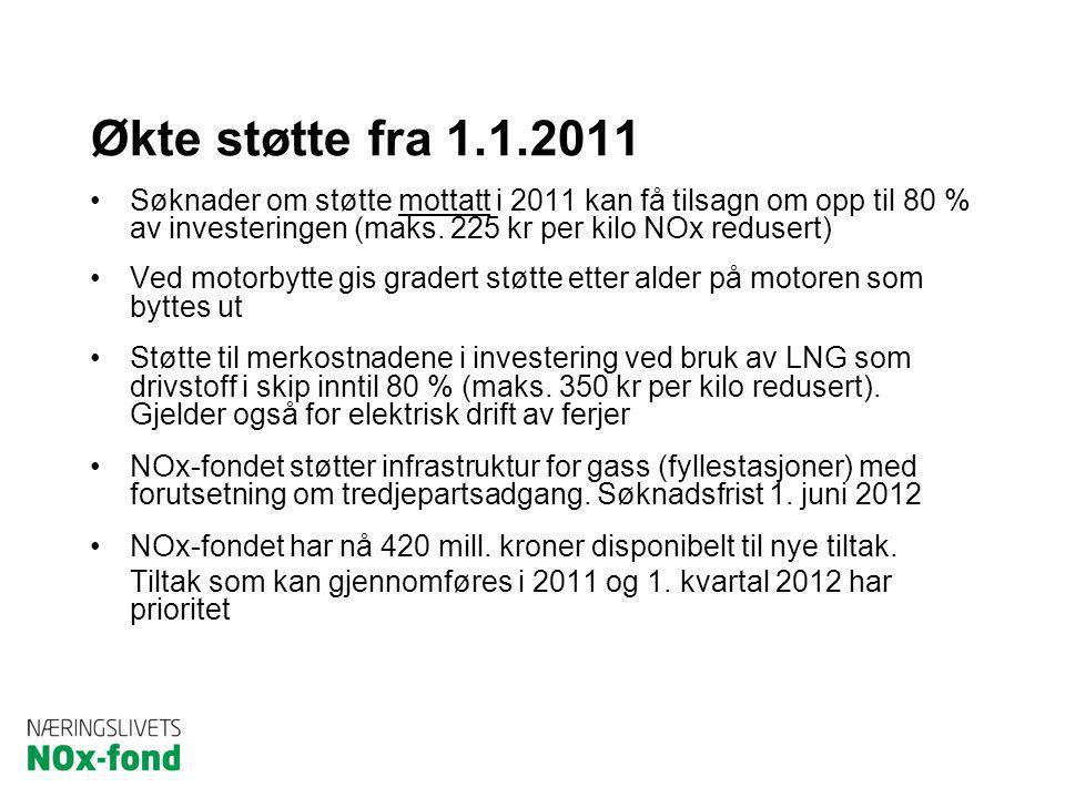 Økte støtte fra 1.1.2011 Søknader om støtte mottatt i 2011 kan få tilsagn om opp til 80 % av investeringen (maks. 225 kr per kilo NOx redusert) Ved mo