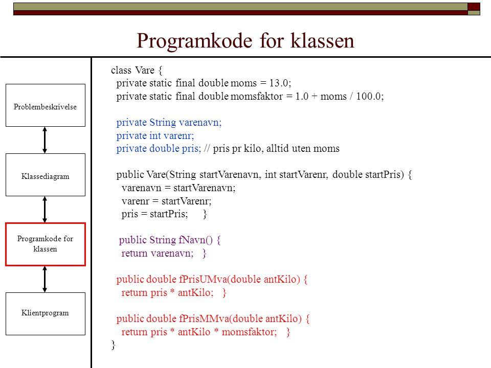 Programkode for klassen Problembeskrivelse Klassediagram Programkode for klassen Klientprogram class Vare { private static final double moms = 13.0; private static final double momsfaktor = 1.0 + moms / 100.0; private String varenavn; private int varenr; private double pris; // pris pr kilo, alltid uten moms public Vare(String startVarenavn, int startVarenr, double startPris) { varenavn = startVarenavn; varenr = startVarenr; pris = startPris; } public String fNavn() { return varenavn; } public double fPrisUMva(double antKilo) { return pris * antKilo; } public double fPrisMMva(double antKilo) { return pris * antKilo * momsfaktor; } }