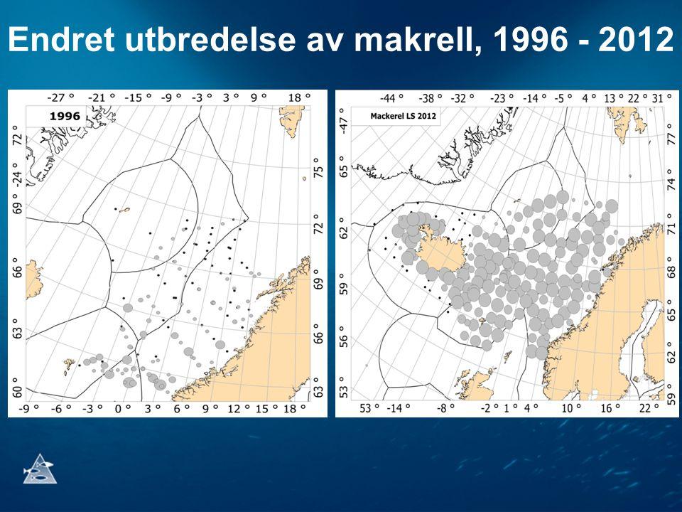 Endret utbredelse av makrell, 1996 - 2012