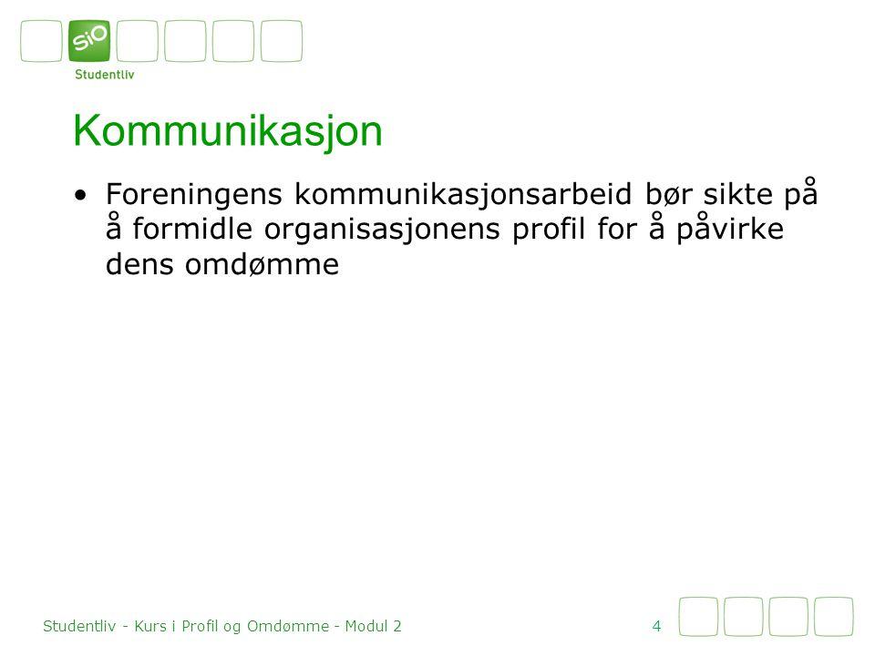 Profilbygging 5 Studentliv - Kurs i Profil og Omdømme - Modul 2 Kommunikasjon Ønsket profil Formål Verdier Identitet Nå-profil Formål Verdier Identitet Profilbygging .