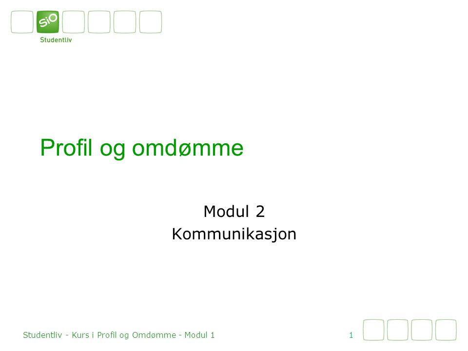 Profil og omdømme Modul 2 Kommunikasjon 1 Studentliv - Kurs i Profil og Omdømme - Modul 1