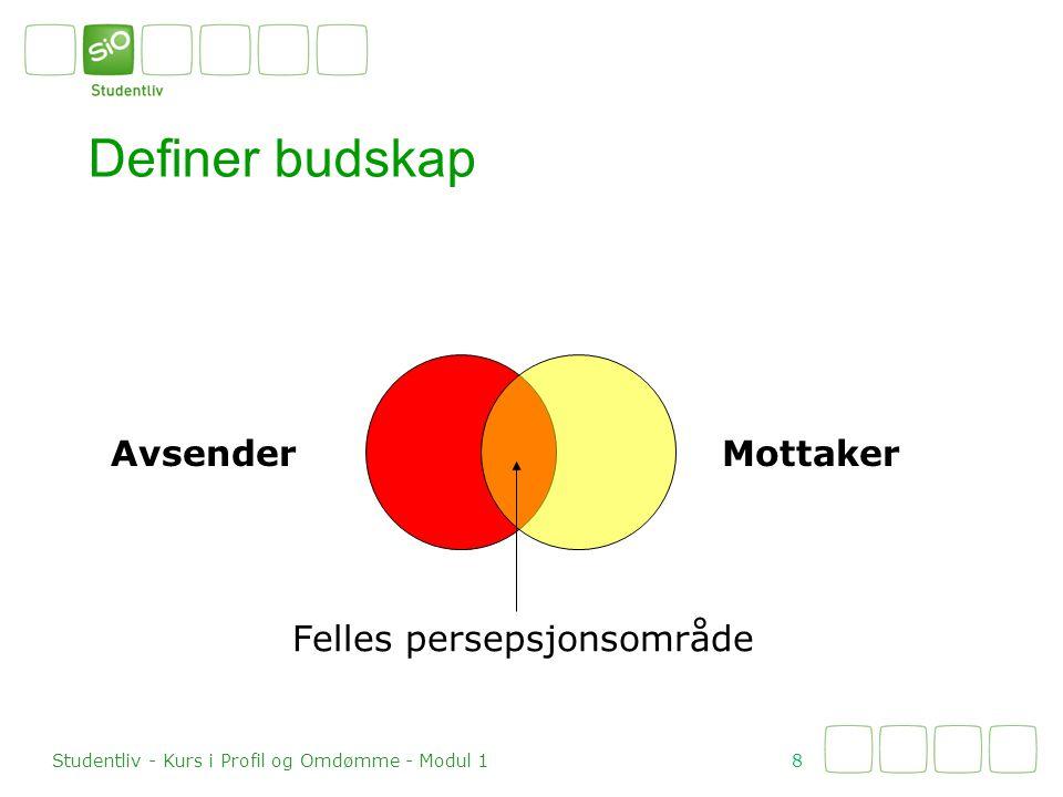 Definer budskap 8 Studentliv - Kurs i Profil og Omdømme - Modul 1 Felles persepsjonsområde MottakerAvsender