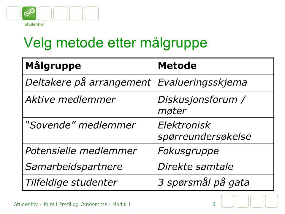 Velg metode etter målgruppe 6 Studentliv - Kurs i Profil og Omdømme - Modul 1 MålgruppeMetode Deltakere på arrangementEvalueringsskjema Aktive medlemm