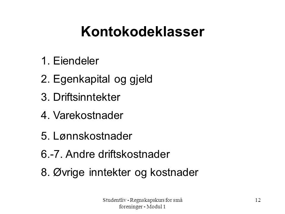 Studentliv - Regnskapskurs for små foreninger - Modul 1 12 Kontokodeklasser 1.