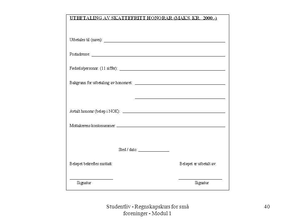 Studentliv - Regnskapskurs for små foreninger - Modul 1 40