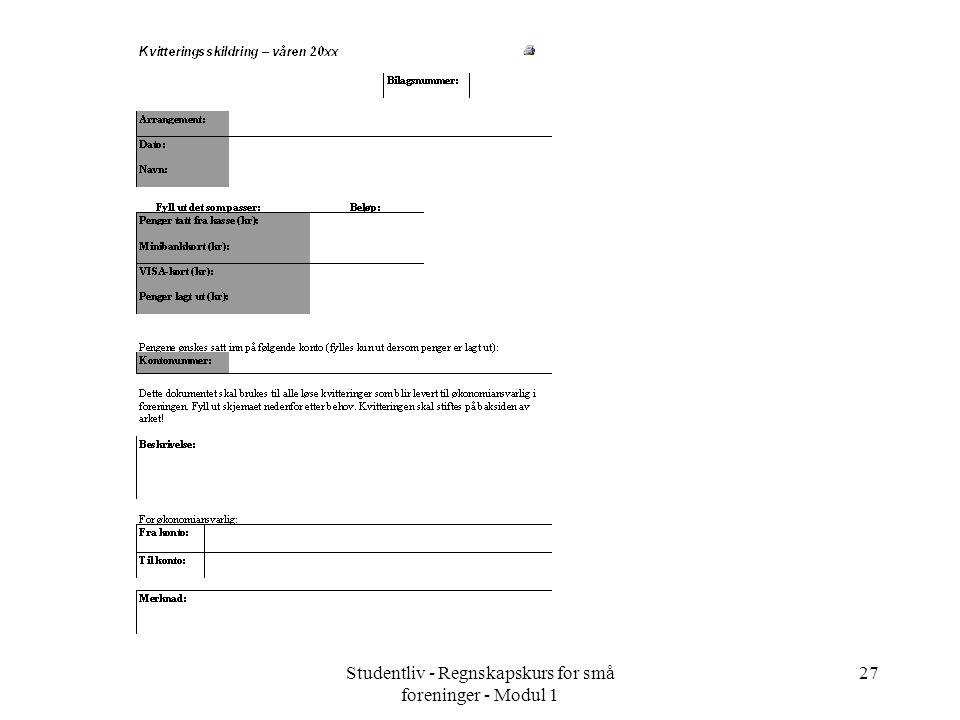 Studentliv - Regnskapskurs for små foreninger - Modul 1 27