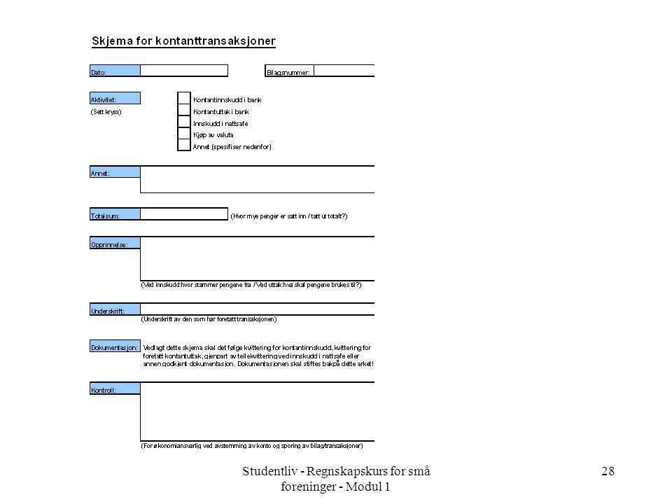 Studentliv - Regnskapskurs for små foreninger - Modul 1 28
