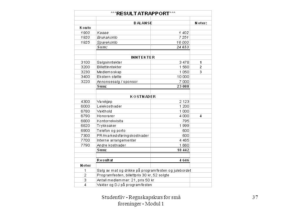 Studentliv - Regnskapskurs for små foreninger - Modul 1 37