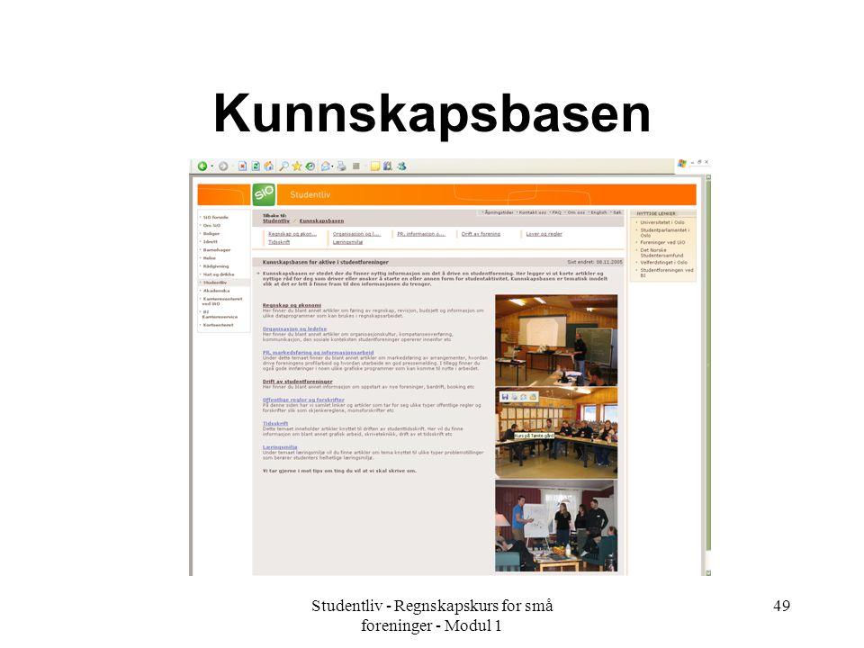Studentliv - Regnskapskurs for små foreninger - Modul 1 49 Kunnskapsbasen