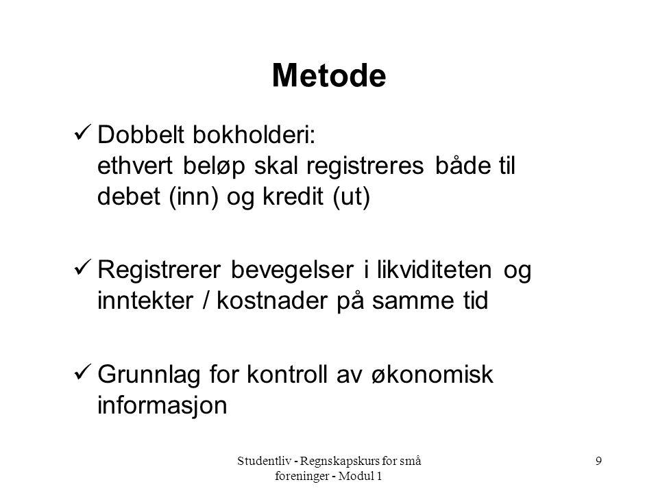 Studentliv - Regnskapskurs for små foreninger - Modul 1 9 Metode Dobbelt bokholderi: ethvert beløp skal registreres både til debet (inn) og kredit (ut