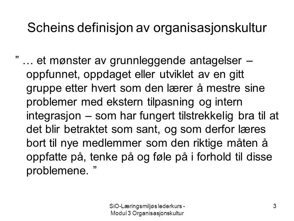 """SiO-Læringsmiljøs lederkurs - Modul 3 Organisasjonskultur 3 Scheins definisjon av organisasjonskultur """" … et mønster av grunnleggende antagelser – opp"""