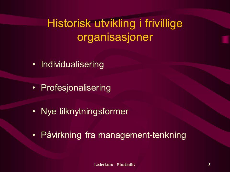 Lederkurs – Studentliv5 Historisk utvikling i frivillige organisasjoner Individualisering Profesjonalisering Nye tilknytningsformer Påvirkning fra management-tenkning