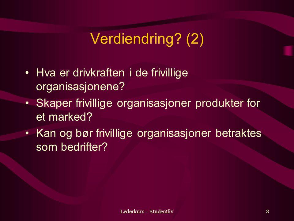 Lederkurs – Studentliv8 Verdiendring.(2) Hva er drivkraften i de frivillige organisasjonene.