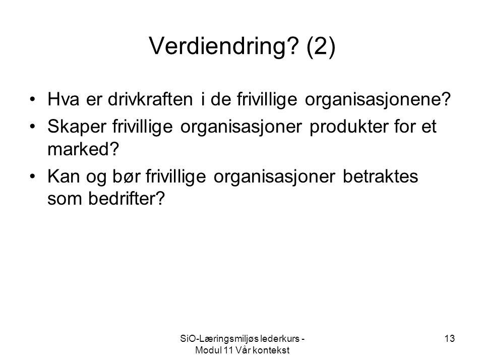 SiO-Læringsmiljøs lederkurs - Modul 11 Vår kontekst 13 Verdiendring.