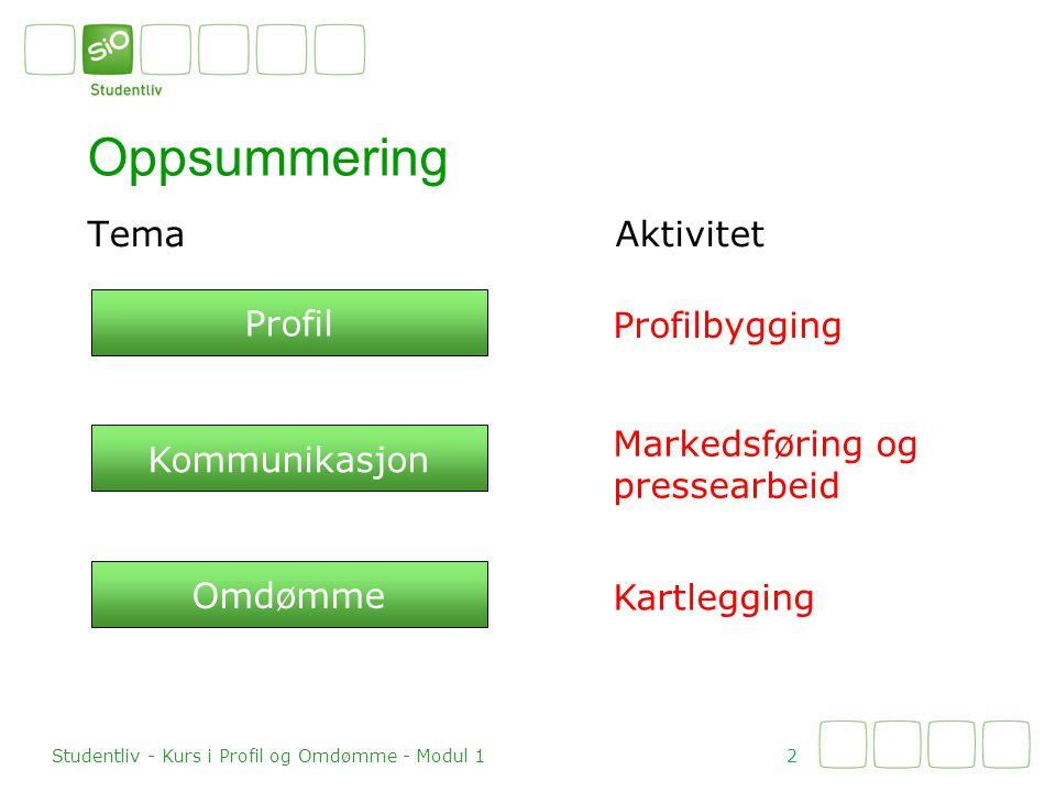 TemaAktivitet Oppsummering 2 Studentliv - Kurs i Profil og Omdømme - Modul 1 Profil Kommunikasjon Omdømme Profilbygging Markedsføring og pressearbeid