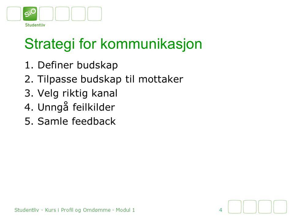 1. Definer budskap 2. Tilpasse budskap til mottaker 3.