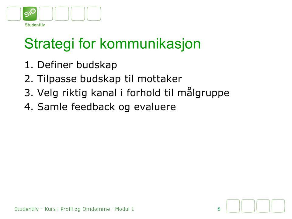 1. Definer budskap 2. Tilpasse budskap til mottaker 3. Velg riktig kanal i forhold til målgruppe 4. Samle feedback og evaluere Strategi for kommunikas