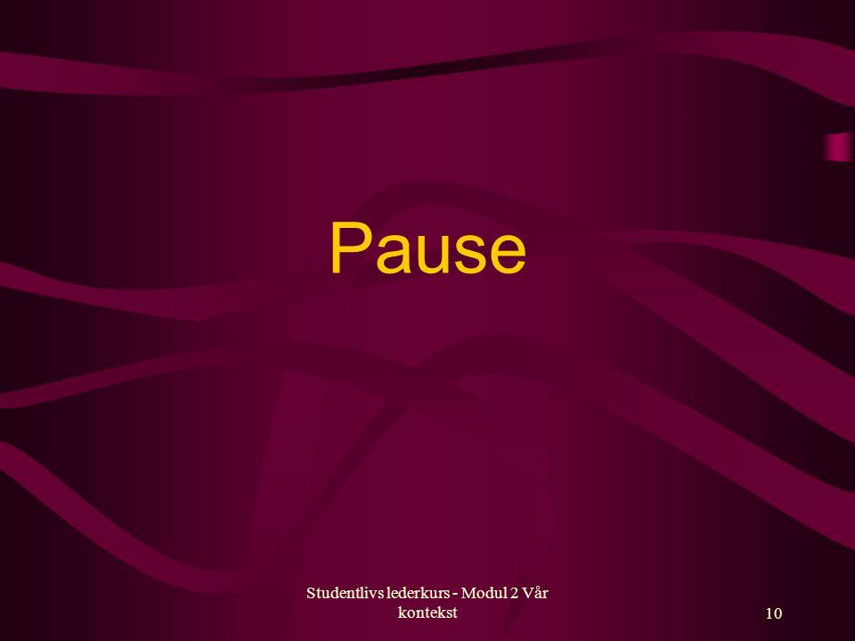 Studentlivs lederkurs - Modul 2 Vår kontekst10 Pause