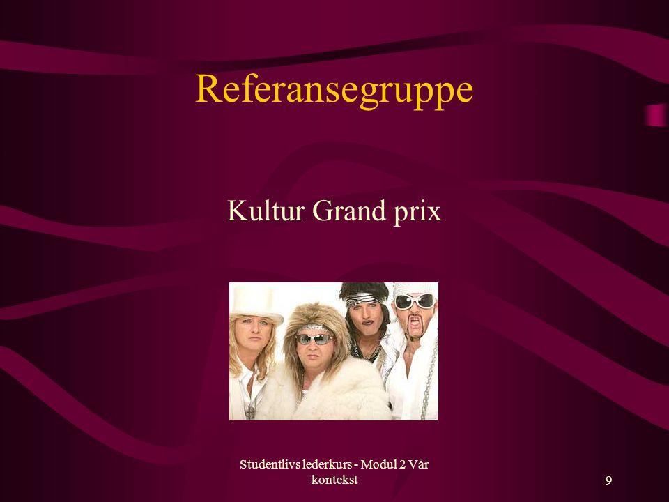 Studentlivs lederkurs - Modul 2 Vår kontekst9 Referansegruppe Kultur Grand prix