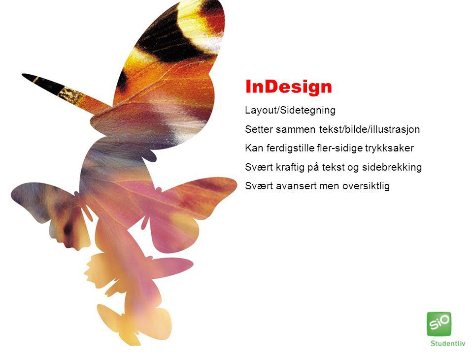 InDesign Layout/Sidetegning Setter sammen tekst/bilde/illustrasjon Kan ferdigstille fler-sidige trykksaker Svært kraftig på tekst og sidebrekking Svær