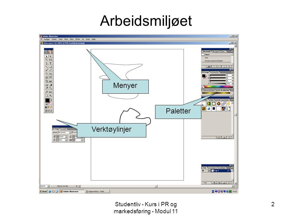 Studentliv - Kurs i PR og markedsføring - Modul 11 3 Funksjoner i Illustrator - 1 Vektorgrafikk Egner seg til å lage figurer som skal kunne skaleres (fleksibel fremstilling) Kan importere punktgrafikk fra andre programmer