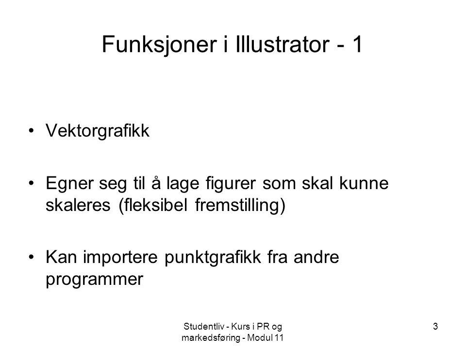 Studentliv - Kurs i PR og markedsføring - Modul 11 3 Funksjoner i Illustrator - 1 Vektorgrafikk Egner seg til å lage figurer som skal kunne skaleres (