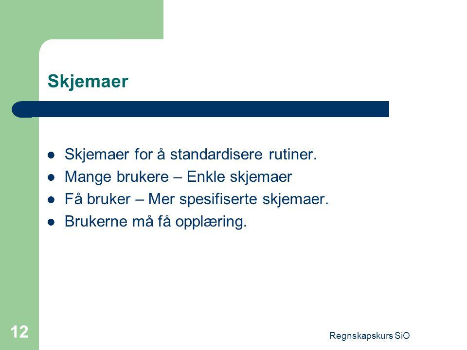 Regnskapskurs SiO 12 Skjemaer Skjemaer for å standardisere rutiner. Mange brukere – Enkle skjemaer Få bruker – Mer spesifiserte skjemaer. Brukerne må