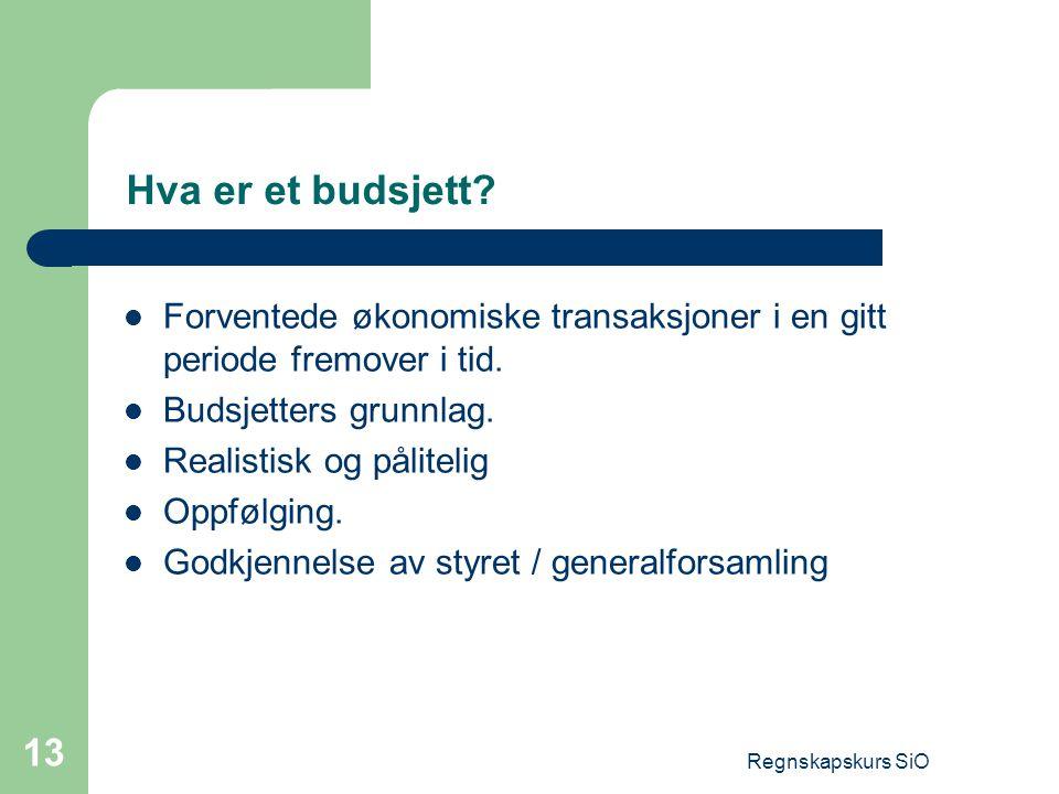 Regnskapskurs SiO 13 Hva er et budsjett? Forventede økonomiske transaksjoner i en gitt periode fremover i tid. Budsjetters grunnlag. Realistisk og pål