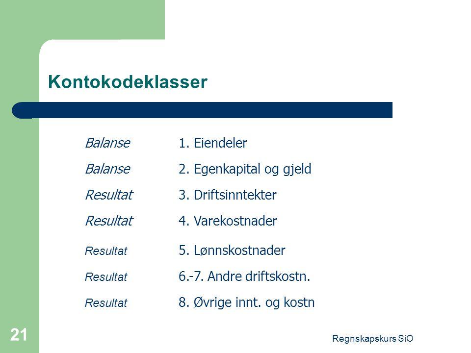 Regnskapskurs SiO 21 Kontokodeklasser Balanse1. Eiendeler Balanse2. Egenkapital og gjeld Resultat3. Driftsinntekter Resultat4. Varekostnader Resultat