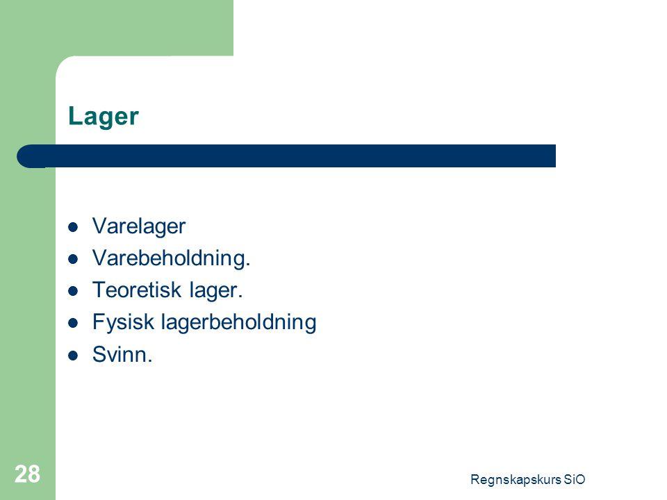 Regnskapskurs SiO 28 Lager Varelager Varebeholdning. Teoretisk lager. Fysisk lagerbeholdning Svinn.