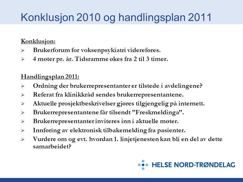 Konklusjon 2010 og handlingsplan 2011 Konklusjon:  Brukerforum for voksenpsykiatri videreføres.  4 møter pr. år. Tidsramme økes fra 2 til 3 timer. H