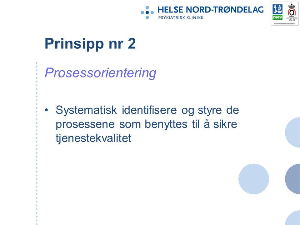Prinsipp nr 2 Prosessorientering Systematisk identifisere og styre de prosessene som benyttes til å sikre tjenestekvalitet