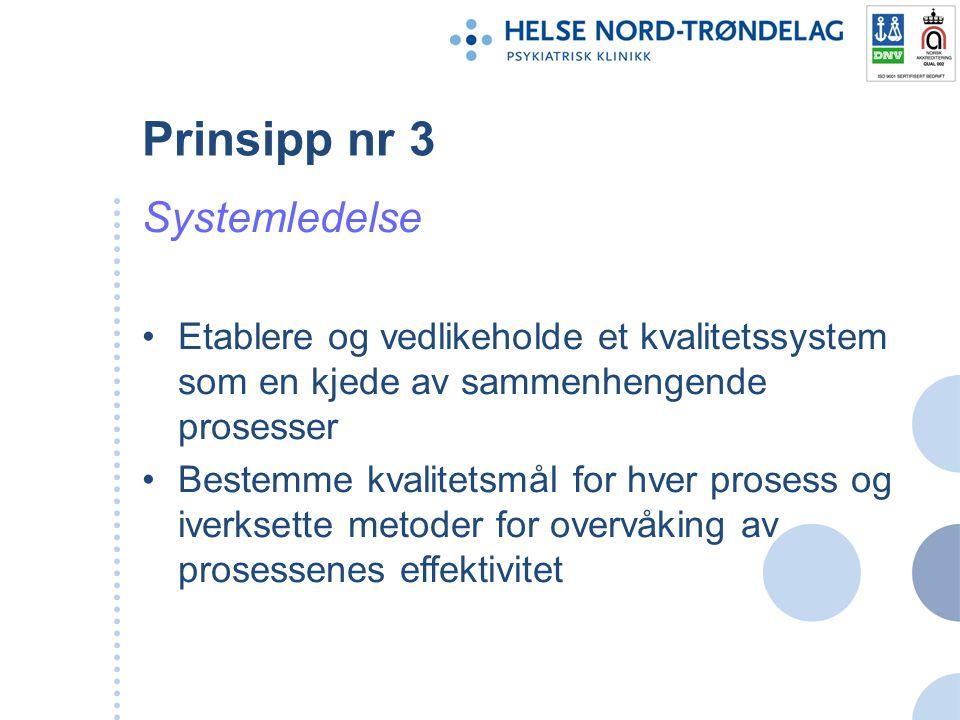 Prinsipp nr 3 Systemledelse Etablere og vedlikeholde et kvalitetssystem som en kjede av sammenhengende prosesser Bestemme kvalitetsmål for hver proses
