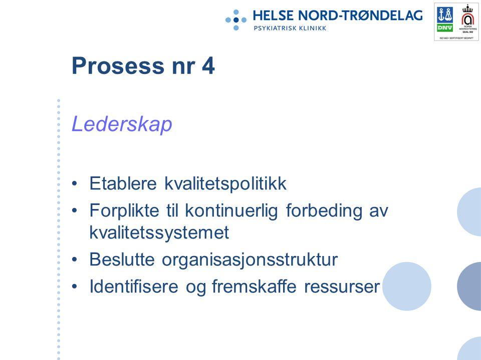 Prosess nr 4 Lederskap Etablere kvalitetspolitikk Forplikte til kontinuerlig forbeding av kvalitetssystemet Beslutte organisasjonsstruktur Identifiser