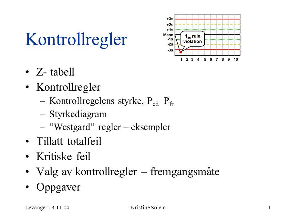 "Levanger 13.11.04Kristine Solem1 Kontrollregler Z- tabell Kontrollregler –Kontrollregelens styrke, P ed P fr –Styrkediagram –""Westgard"" regler – eksem"