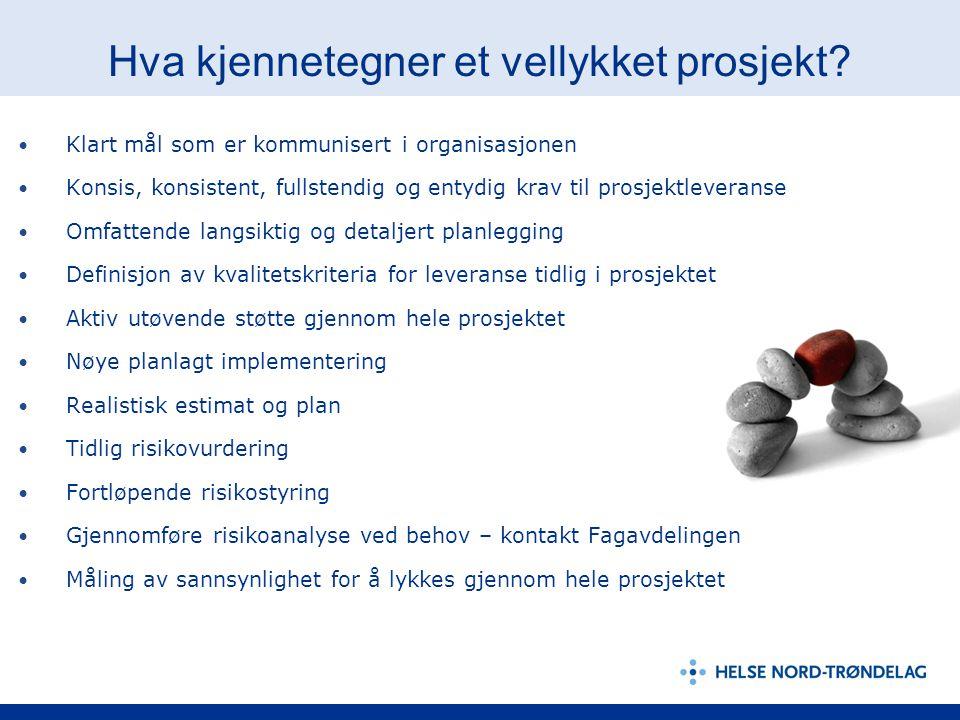 Hva kjennetegner et vellykket prosjekt? Klart mål som er kommunisert i organisasjonen Konsis, konsistent, fullstendig og entydig krav til prosjektleve